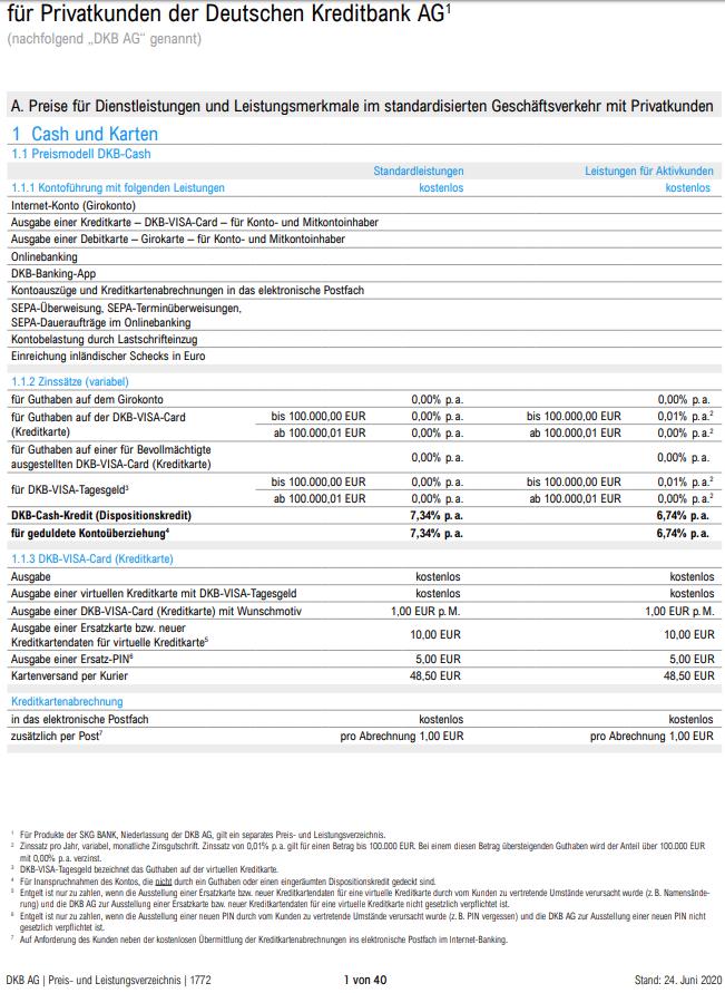 DKB Preisübersicht