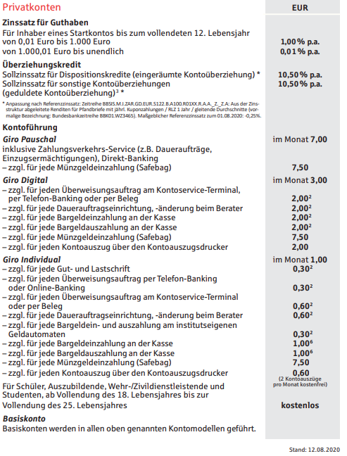 Preisübersicht Konto Sparkasse