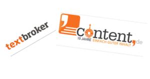 Logos von textbroker.de und content.de